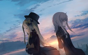 Picture the sky, sunset, girls, fate/grand order