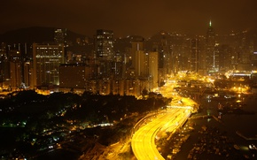 Picture China, Road, Hong Kong, Lights, Night, Panorama, Building, China, City, Night, Hong Kong, Road, Panorama