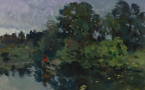 Picture trees, landscape, boat, picture, Konstantin Korovin, On the lake with lilies