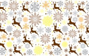 Picture snowflakes, animal, deer