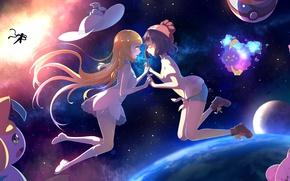 Picture space, girls, hat, anime, art, pokemon, pokemon, deoxys, clefairy, jigglypuff