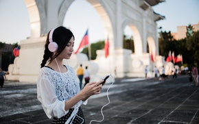 Picture girl, face, music, headphones, East