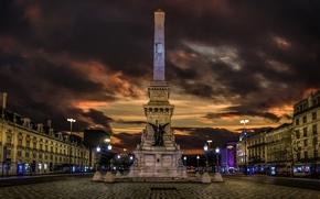 Picture night, lights, home, area, monument, Portugal, obelisk, Lisbon