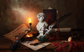 Picture pen, violin, books, candle, ring, figurine