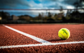 Wallpaper markup, court, mesh, tennis, the ball, bokeh