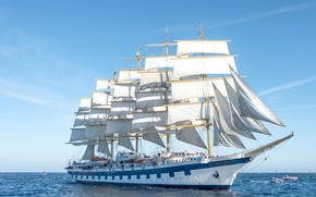 Wallpaper sea, France, sailboat, sails, boats, France, The Mediterranean sea, Royal Clipper, Mediterranean Sea, Saint-Tropez, Saint-Tropez