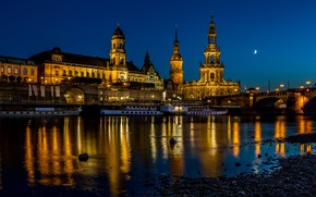 Picture bridge, home, Germany, Dresden, lights, boats, the moon, night, palaces, lights, the sky, river