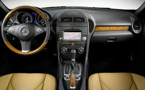 Picture Mercedes-Benz, the wheel, salon, dashboard, SLK