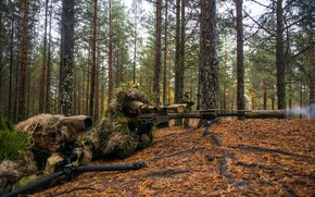 Wallpaper observation, sniper, rifle, forest, optics