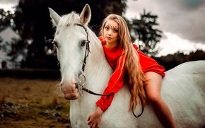 Picture girl, pose, horse, portrait, makeup, dress, hairstyle, beauty, rider, in red, bokeh, Carlos, white horse, …