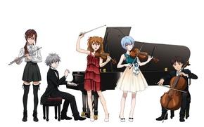 Picture game, Neon Genesis Evangelion, anime, plan, violin, cello, japanese, flute