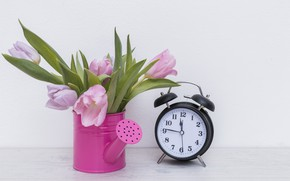 Picture flowers, bouquet, Tulips, alarm clock, lake