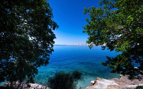 Picture the sky, trees, branches, stones, blue, coast, foliage, Bay, the bushes, Croatia