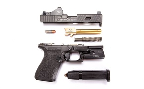Wallpaper gun, details, disassembled, Glock