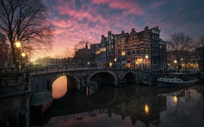 Picture light, the city, lights, the evening, morning, Amsterdam, channel