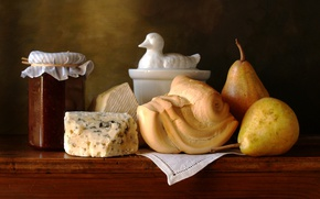 Picture cheese, still life, pear, jam