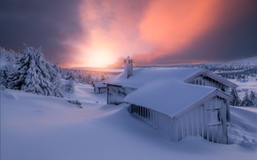 Picture winter, the sky, light, snow, the evening, house