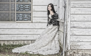 Wallpaper Asian, girl, house