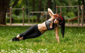 Picture music, park, brunette, workout, fitness, abs