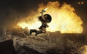 Wallpaper cinema, fire, battlefield, flame, sword, Wonder Woman, monster, armor, fight, movie, ken, blade, cosplay, hero, ...