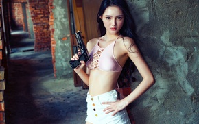 Picture look, girl, gun, Asian