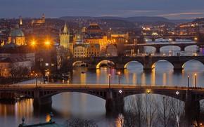 Picture night, lights, river, Prague, Czech Republic, bridges, Vltava
