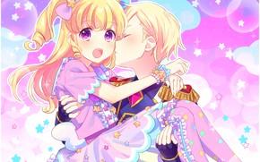 Picture romance, kiss, anime, art, two, PriPara
