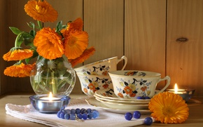 Picture flowers, candle, bouquet, Cup, still life, calendula