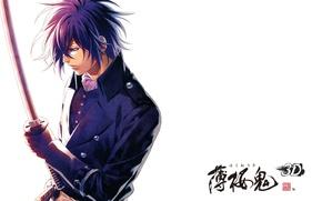 Picture katana, characters, white background, art, military uniform, demons pale cherry, hakuouki shinsengumi kitano, yone kazuki, …