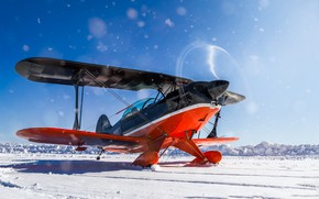 Picture winter, snow, the plane, wings, propeller, biplane