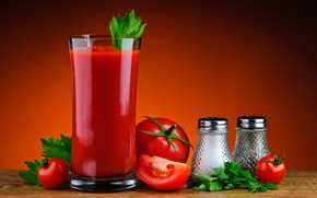 Wallpaper parsley, tomatoes, glass, tomato juice