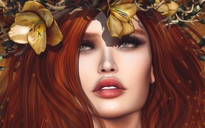 Picture eyes, face, background, hair, lips, red