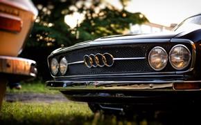 Picture Audi, Black, Retro, Machine, Black, White, Grille, Machine, Lights, 100, Audi 100, Audi 100 C1 …