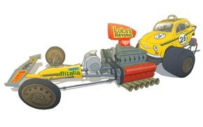 Wallpaper Figure, The Rat Monster, Fiat 500, Dragster