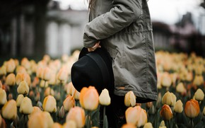 Picture girl, flowers, hat, jacket, tulips