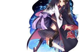 Picture bamboo, hugs, white background, parody, guys, cloak, bow, brothers, Naruto, long hair, akatsuki, fan art, …