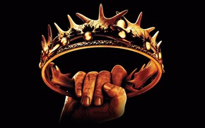 Picture gold, Wallpaper, figure, hand, spikes, black background, Game Of Thrones, Crown, the struggle for power