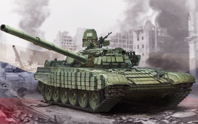 Wallpaper T-72B1, art, tank, Soviet, figure