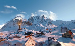 Picture snow, mountains, lighthouse, the witcher 3 wild hunt