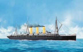 Picture wave, ship, Transatlantic Ships, augusta-victoria
