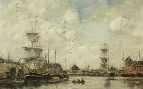 Picture ship, picture, sail, Eugene Boudin, Eugene Boudin, Fécamp. Bay