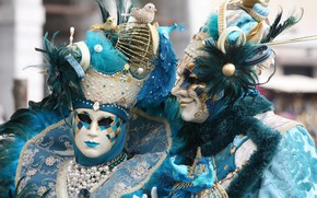 Picture pair, carnival, mask, costumes