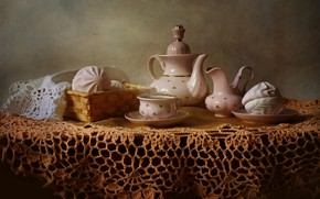 Picture table, tea, hot, kettle, couples, Cup, still life, saucer, tablecloth, marshmallows