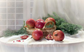 Picture table, basket, apples, fruit, still life, tablecloth, garnet, pine branches
