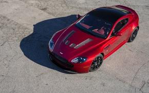 Picture Aston Martin, Red, Vantage, Road, Wheel, Machine, View, Shadow, Lights, V12