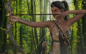 Picture forest, girl, weapons, bow