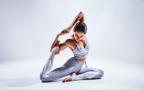 Wallpaper tattoo, brunette, pose, female, yoga, Elongation