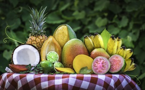 Wallpaper coconut, lime, fruit, mango, pineapple, banana, tropical, feijoa