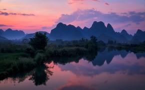 Picture mountains, lake, China, Guangxi