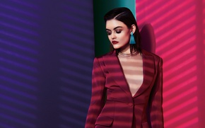 Picture makeup, actress, brunette, hairstyle, singer, jacket, photoshoot, Venice, Lucy Hale, Lucy Hale, 2016, Dennis Leupold